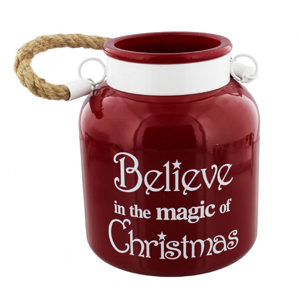 Large Red Glass Candle Holder Lantern with Rope Handle 'Believe In The Magic Of Christmas'